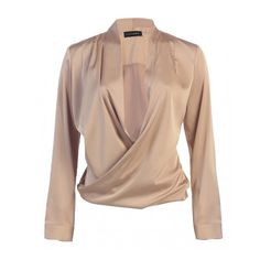 JLUXBASIX Gold Cross Draped Satin Blouse ($45) ❤ liked on Polyvore featuring tops, blouses, shirts, shirt top, gold top, sexy shirts, beige shirt and draped blouse