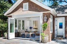 Polsky Perlstein Architects, Larkspur, CA. Pool Cabana, Backyard Cabana, Backyard Pools, Pool Decks, Pool Landscaping, Backyard Ideas, Small Pool Houses, Small Pools, Pool House Decor