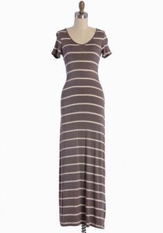 Simple Heart Striped Maxi Dress