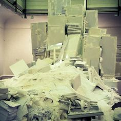 objects.food.room Site-specific installation formed by old refrigerators,files,paper,etc
