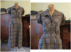 Vintage 1950s Brown and Turquoise Plaid Cotton Day Dress - fits 37 inch bust, 29 waist by dandelionvintage, $65.00