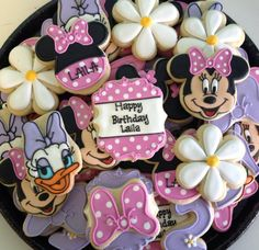 Icings by Ang in Kansas Minnie Mouse Cupcake Toppers, Minnie Mouse Cookies, Disney Cookies, 2nd Birthday Party Themes, Minnie Birthday, Birthday Ideas, 3rd Birthday, Daisy Duck Party, Minnie Mouse Clubhouse