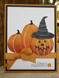 Halloween Pumpkins By:Joan Robertson, Independent Stamp' Up Demonstrator Halloween Paper Crafts, Halloween Make, Halloween Cards, Halloween Themes, Halloween Pumpkins, Fall Cards, Holiday Cards, Pumpkin Cards, Thanksgiving Cards