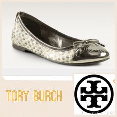HP x2$80  Tory Burch Verbena In Silver Gorgeous Tory Burch snakeskin flats in silver.  Note scuffs in front tips   Made of leather in Brazil.  These are in good used condition.  trades/PP. Tory Burch Shoes Flats & Loafers