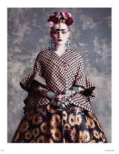 visual optimism; fashion editorials, shows, campaigns & more!: frida kahlo: guinevere van seenus by luigi + iango for vogue germany june 2014 #fashion #photography