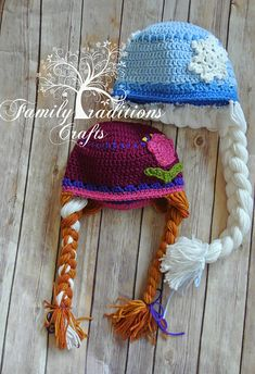 "Cute Disney's ""Frozen"" winter hats to make w/attached character braids. (From: Ravelry: Winter Spring Tulip Hat pattern by Shannon Corcoran Family Traditions Crafts  (pattern is $4.50)"