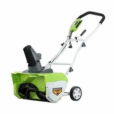 GreenWorks 26032 12 Amp Corded Snow Thrower - Electric Snow Shovel with Wheels Electric Snow Shovel, Electric Snow Blower, Snow Shovel With Wheels, Snow Removal Equipment, Electric Pencil Sharpener, Electric Scooter, Electric Motor, Lawn Mower, Outdoor Power Equipment