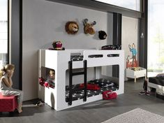 Bring your children's bedroom to life with our range of Bedroom Furniture. Shop bunk beds, children's beds, cabin beds & novelty beds for kids. Low Bunk Beds, Modern Bunk Beds, Kids Bunk Beds, Sharing Bed, Single Bunk Bed, Black And White Design, Loft Spaces, Kids Furniture, Space Saving