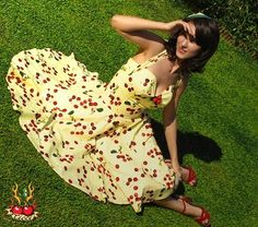 Pinup Yellow Cherry Dress by TicciRockabilly on Etsy, $111.00....I must have a more affordable one for summer!!