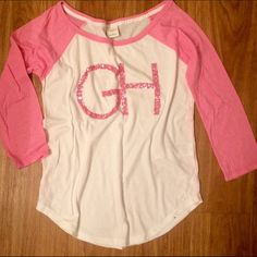 Gilly Hicks Pink Baseball T Perfect condition! Worn twice. Loose fitting so could fit up to a medium. Super cute with jeans! ️❗️I DON'T TRADE❗️ Gilly Hicks Tops