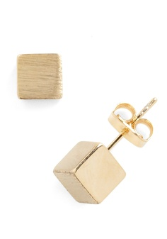 Cube as Can Be Earrings - Gold, Solid, Casual, Urban