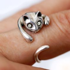 But do they make one-eyed cats?  Sterling Silver Cat Ring by LubaJewelry on Etsy
