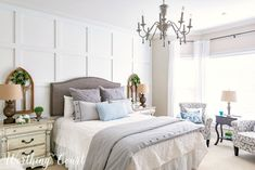 Bedroom featuring board and batten wall, diy painted furniture, diy vintage chandelier makeover and gray and white decor. Accent Wall Bedroom, Home Decor Bedroom, Bedroom Makeover, Diy House Projects, Budget Bedroom, French Country Bedrooms, Shabby Chic Bedroom, Home Decor, Budget Bedroom Makeover