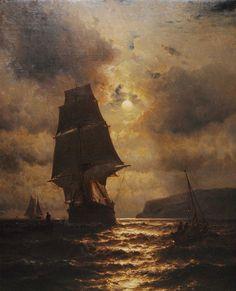 Mauritz de Haas - Moonlight clipper ship and boats off the coast of long Island