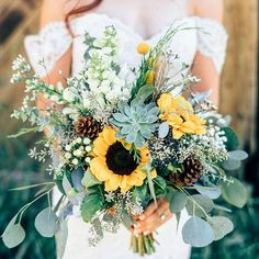 Sunflower and pine cone Autumn wedding bouquet ,gorgeous fall bouquet.