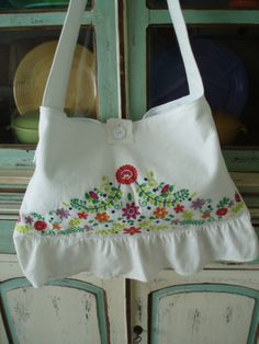 Beautiful white bag   with embroidery on the bottom upcycled from a sundress.