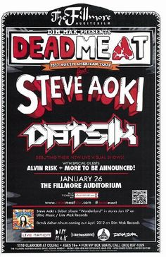 Concert poster for Steve Aoki and Datsik at The Fillmore Auditorium in Denver, CO in 2012. 11 x 17 on card stock.