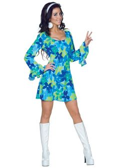 Retro Dresses Wild Flower Adult Costume - Spread the peace and love in this style hippie costume. In this Wild Flower costume, you'll be ready for any swinigin' groovy shindigs in this blue and green flower print mini dress with headband. 70s Halloween Costumes, Halloween Outfits, Girl Costumes, Adult Costumes, Costumes For Women, Vampire Costumes, Go Go Girl Costume, 1970s Costumes, Disco Costume For Women