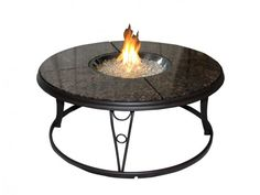 """Outdoor Great Room 48"""" Granite Fire Pit Table"""