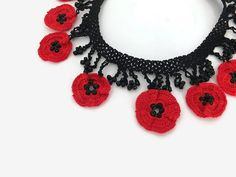 Crochet Necklace Crochet Red Poppy Necklace Red Flower Necklace Crochet Jewelry Statement Necklace Beaded Necklace Gift For Her Red Poppies, Red Flowers, Bead Crochet, Crochet Earrings, Flower Necklace, Beaded Necklace, Crochet Accessories, Gifts For Mom, Elsa