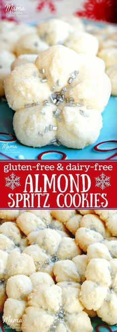Almond Spritz Cookies {Gluten-Free, Dairy-Free} Almond spritz cookies are the perfect balance of a bit of almond and touch of sweetness. This light and perfectly crisp cookie is a holiday classic. It now can be enjoyed both gluten-free and dairy-free. Cookies Gluten Free, Gluten Free Christmas Cookies, Dairy Free Brownies, Gluten Free Sweets, Gluten Free Baking, Dairy Free Recipes, Gf Recipes, Holiday Cookies, Diabetic Recipes