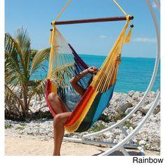 Large Caribbean Hammock Chair (Rainbow), Blue, Patio Furniture (Polyester)