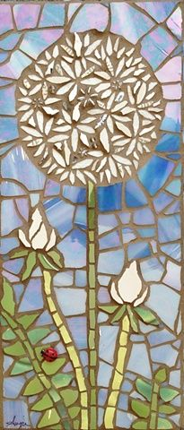 Dandelion by Anja Hertle ~ Maplestone Gallery ~ Contemporary Mosaic Art barbarasangi Mosaic Tile Art, Mosaic Crafts, Mosaic Projects, Mosaic Glass, Mosaic Designs, Mosaic Patterns, Dandelion Art, Mosaic Flowers, Mosaic Madness