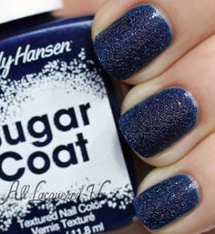 Sally Hansen Laughie Taffy is a midnight blue creme texture. It looks more royal in the bottle but on the nail it dries pretty dark.