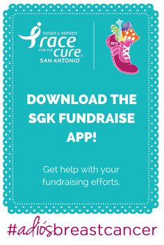 Fundraise on your mobile device with SGK Fundraise. After initial Race registration, this app can help you ask for donations, track fundraising, recruit team members and send thank you messages to your donors. Just go to your App store and search for SGK Fundraise. #AdiosBreastCancer