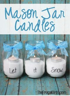 Mason Jar Candles!  {let it snow} ~ from TheFrugalGirls.com ~ spruce up your winter mandle with some cute new candles! #candle #masonjars  #thefrugalgirls  Envios a todo Mexico. Descuentos especiales al Mayoreo   tienda en linea:  www.kichink.com/stores/quieromasonjars www.facebook.com/quieromasonjars      twitter:  @QuieroMasonJars     http://www.pinterest.com/QuieroMasonJars/