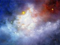 Marina Petro ~ Adventures In Daily Painting: The Edge-Original Oil Painting of Outer Space, Planets, Sun, Moon