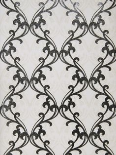 Gwyneth wallpaper in color Cream Black from Fabricut's Gilded Glamour wallcovering collection.