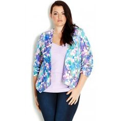 Our Monet Garden Jacket is sure to make a remarkable illusion. This vibrant jacket features an all over blurred floral print, 3/4 sleeves with ruch detail at the cuff, shoulder pads, slash detailing across the back and is lined.