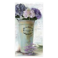 A beautiful addition to any room, the Lavender Vintage Floral II Canvas Wall Art is a canvas print depicting a lovely spring bouquet of purple blossoms in a rustic water pitcher. Features a background of elegant script and vintage postmarks. Canvas Wall Decor, Home Decor Wall Art, Room Decor, Purple Home Decor, Home Decor Bedding, Spring Bouquet, Botanical Wall Art, Artist Canvas, Decoration