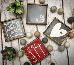 Rustic Valentines day gift farmhouse style mini sign set of 4 image 1 Dekorationen Bauernhaus Mantel Rustic Valentines day gift farmhouse style mini sign set of wooden sign, tiered tray, coffee bar, Valentine Decorations, Valentine Crafts, Valentine Day Gifts, Valentines Games, Valentine Ideas, Diy Projects Cans, Thankful And Blessed, Tray Decor, Craft Items