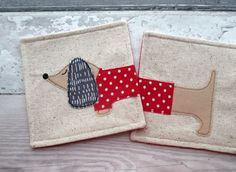 Sausage Dog Coasters - Fabric Coasters - Christmas Coasters