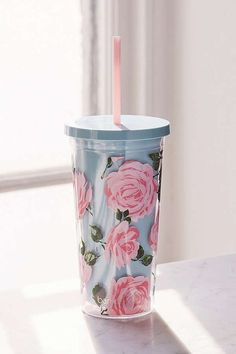 do Rose Parade Sip Tumbler at Urban Outfitters today. We carry all the latest styles, colors and brands for you to choose from right here. Cup With Straw, Tumbler With Straw, Copo Starbucks, Cute Water Bottles, Cute Cups, Tumbler Cups, Mug Cup, Girly Things, Girly Stuff