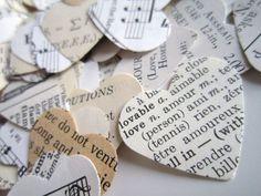 Rustic Wedding, Eclectic Paper Heart Wedding Confetti -1000- Shabby Chic wedding, wedding favors, vintage wedding confetti, Sheet music