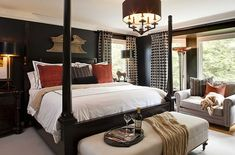 Black bedroom interior design are enigmatic, intense, sexy and perfect to the core. Go for our black bedroom interior designs they are bold and beautiful. Romantic Master Bedroom, Master Bedroom Design, Beautiful Bedrooms, Home Decor Bedroom, Bedroom Ideas, Bedroom Designs, Bedroom Furniture, Single Bedroom, Dark Furniture