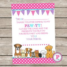 a5ee4af8dd Puppy Adoption Pawty Pet Adoption Adopt a Puppy Birthday Party Polka Dot  Thank You Cards Puppy Dog Pet Shop Thank you for coming to my Pawty