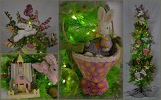 A Christmas tree for Easter! Easter eggs, rabbits, carrots, yellow ducks, leaping bunnies, Easter houses and baskets, polka dot ribbon - our Easter tree is filled with all the best Easter decorations. | eBay!