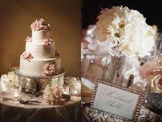 Reception decor and pink wedding cake.