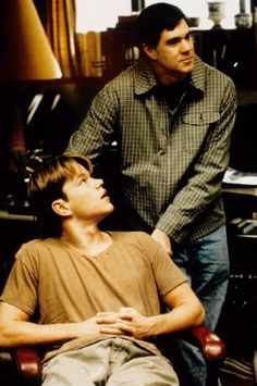 "On set with Matt Damon and director Gus Van Sant ""Good Will Hunting"" (1997)"
