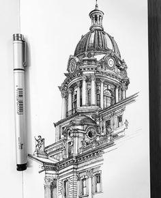 Architecture Drawing Sketchbooks, Architecture Concept Drawings, Art And Architecture, Art Sketches, Art Drawings, Landscape Drawings, Art Alevel, Perspective Art, Art Plastique
