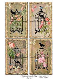 Bird Cage 3 X 5    Collage Sheet  Printable por CountryAtHeart2008, $4.99