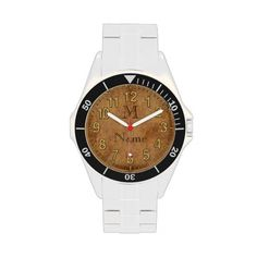 Personalized Monogram Watch Face for Men with an old vintage looking Watch Face Personalized with his monogram and name. Mens Monogram Watch CLICK: http://www.zazzle.com/vintage_look_personalized_monogram_watch_for_men-256402571040878429?rf=238012603407381242 See more Personalized Father's Day Presents for Dad, Husband gift ideas. Men and Boys Styles Here http://www.Zazzle.com/YourSportsGifts* CALL Rod or Linda for HELP: 239-949-9090
