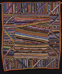 "Anna Williams, CLXXX, ""Affluent String + String Border,"" 59"" X 68"" , 1998. Quilted by Marie Whitten, Callie Brian, Ethel Love. Collection of Katherine Watts. Mark Kleiner, Photographer."