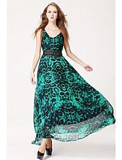 TS Simplicity Print Chiffon Maxi Dress Belt