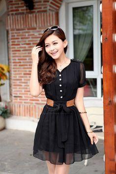Scoop Neck Short Sleeves Chiffon Buttons Decoration Fashionable Style Dress For Women (JACINTH,XL) | Sammydress.com