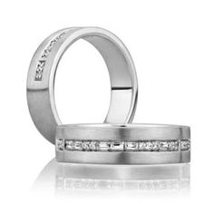 Handsome engagement and wedding bands from A. Jaffe for grooms and butch brides!